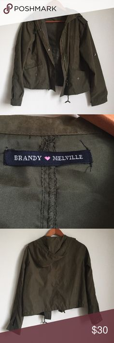 Brandy Melville light weight jacket Worn one fine! Wonderful condition! This light weight jacket is a deep olive green and so cute. You can zip and /or button this jacket up. 100% cotton Brandy Melville Jackets & Coats
