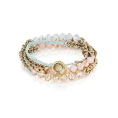 "Bead + Chain Multi-Wrap Bracelet   antique gold-plated nickel-free plating 27.5"" - 30"" adjustable length button closure rose, serenity blue + champagne glass, mint thread    $45.00"