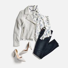 Love this whole outfit. I have a very similar jacket but I've been looking for grey suede pumps. I like stiletto heels, though they don't have to be high. Pretty blouse too.