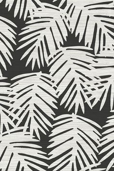 Katsuya / Black by willowlanetextiles - Bold plant silhouettes in charcoal black and cream with a textured background on fabric, wallpaper, and gift wrap.  Beautiful tropical pattern with a sleek modern feel.
