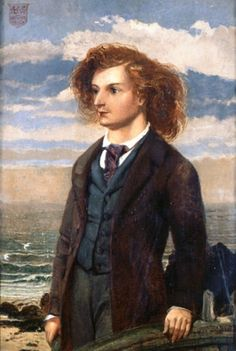 "Portrait of Algernon Swinburne by William Bell Scott (1837-1909) ACG was a technically-innovative poet who shocked Victorian society with the decadence of his work.  The Victorian establishment assumed that his morals matched his poetry, although Oscar Wilde claimed that Swinburne's degeneracy was a show, and he had ""done everything he could to convince his fellow citizens of his homosexuality and bestiality without being in the slightest degree a homosexual or a bestializer."""
