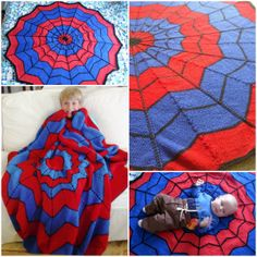 Knitted Spiderman Blanket--I bet I could figure out a way to make this...