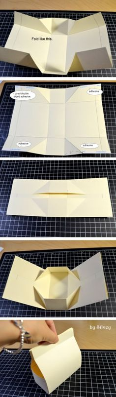 fare una scatola di cartoncino senza forbici -folded box -- No cutting
