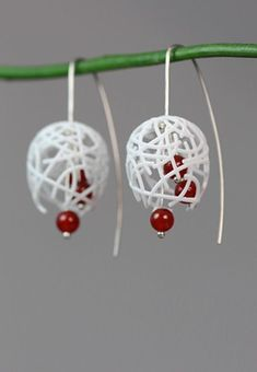 White Statement Dangle Earrings with a combination of 3D printed Nylon, Carnelian Stone Beads and Sterling Silver.