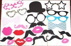 Photo Booth Props - 25 Piece set to include 1 gold bow tie and 1 gold tie, Mr and Mrs Glasses  and Mustaches, Lips, on Etsy, $29.00