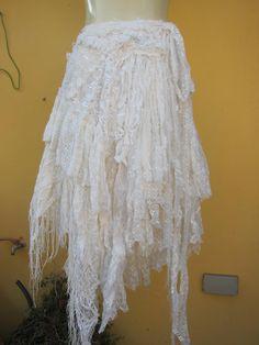 vintage inspired shabby white wrap skirt/shawla work by wildskin Lion Halloween Costume, Pretty Dresses, Amazing Dresses, Wrap Around Skirt, Boho Girl, Recycled Fashion, Shabby Chic Style, Gypsy Style, Handmade Clothes