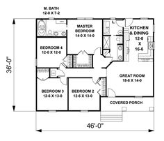 First Floor Plan of Cottage   Country   Craftsman   House Plan 64581