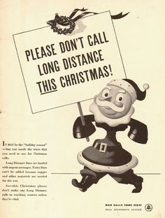 1942 WW2 AD, Bell Telephone System  No Long Distance this Christmas 091914