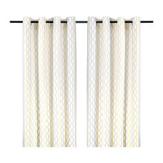 """(White grey and brown instead)IKEA - HENNY RAND, Curtains, 1 pair, white/gray yellow, 57x98 """", , The eyelet heading allows you to hang the curtains directly on a curtain rod."""