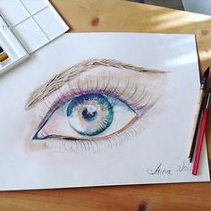 Aquarell Bild Auge