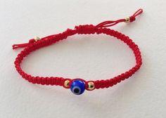 Red String Evil eye Bracelet, Lucky charm Bracelet, Urban look, friendship, Charm Bracelet, Blue evil eye Bracelet, Jewish Gift, mal de ojo