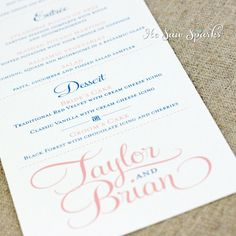Wedding Menu Card Thank You Design Shimmer Cardstock By Cdkane