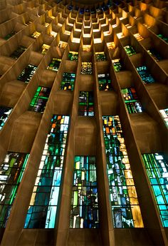 Destroyed by the Luftwaffe in 1940, the Coventry Cathedral in England rebuilt and stands prouder than ever. This view of the Baptistry windows shows the beautiful stained glass designed by John Piper.