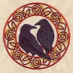 """Norse Ravens Huginn and Muninn""  embroidered bib by MorningTempest on Etsy"