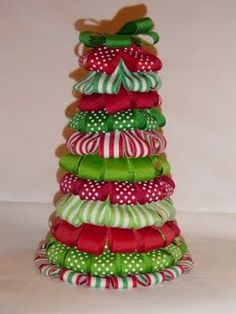 ribbon trees make cute Christmas gifts and are super easy to make