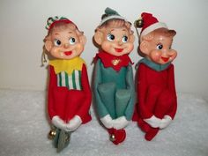3 Three Vintage 1960/s 70/s Elf Christmas Ornaments / Japan ...