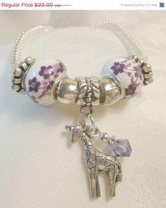SUMMER SALE Giraffe Charm Bracelet European Bead With by LaTaza, $17.60
