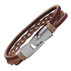 R&B Bijoux - Bracelet Homme - Manchette Tressée & Fermoir Solide Style Twist Vintage - Cuir & Métal (Marron Bordeaux, Argent): Amazon.fr: Bi...