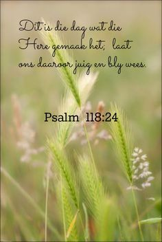 Afrikaanse Inspirerende Gedagtes & Wyshede: Psalm 118:24 Inspirational Bible Quotes, Bible Verses Quotes, Jesus Quotes, Inspiring Quotes About Life, Bible Scriptures, Psalm 118, Psalms, Afrikaanse Quotes, Christian Messages