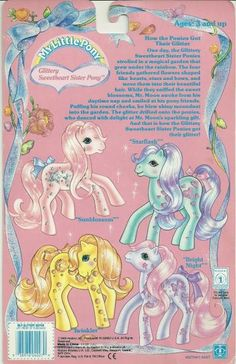 Glittery Sweetheart Sister Ponies backcard.