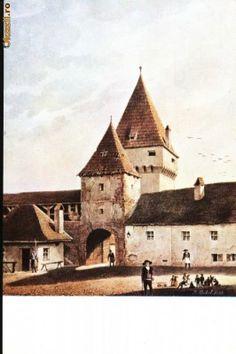 Carte postala ilustrata Poarta Elisabeta din Sibiu, dinspre oras foto Sibiu Romania, Cathedral, Building, Travel, Viajes, Buildings, Trips, Cathedrals, Construction