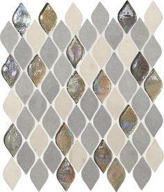 Limestone Collection Gris Et Blanc DA19 Rain Drop Mosaic Natural Stone Tile.