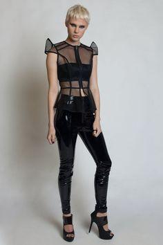 MÁS INTRÉPIDOS - malla negra - Cybergoth - PVC - Lady Gaga - Cyberpunk - Space Age Robot - futurista - camisa - Cyberpunk - estructurado - Robot