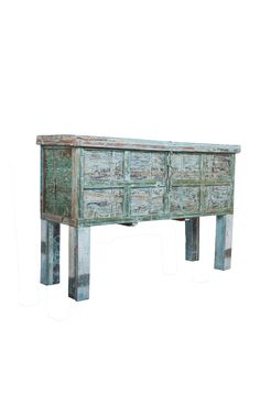 Wooden Chest Console Table | A beautiful old chest in distressed pale blue patina finish.  A unique console that has a hidden storage.  Fits perfectly at the entrance of your home and also any other space. The top opens for storage so you can keep some of your clutter hidden away. #homedecor #interior #furniture #console #rustic #chest #distressed Old Chest, Desert Design, Other Space, Wooden Chest, Patina Finish, Custom Made Furniture, Hidden Storage, Console Table, Clutter