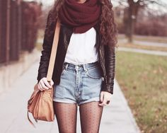 Leather jacket, scarf, shorts & tights