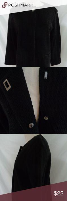 """Alfani Black Sweater Jacket Textured Size Medium Alfani Black Sweater Jacket   Really Nice Textured Design  Size Medium   Armpit to Armpit 21""""  Shoulder to Hem 23""""  Sleeve 20""""  Hem 21""""  A39 Alfani Jackets & Coats Blazers"""