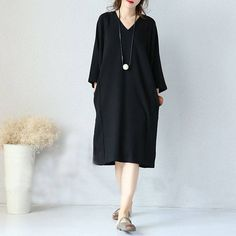 Dress - Women 3/4 Sleeve Black Casual V Neck Loose Pullover Pockets Cotton Dresses