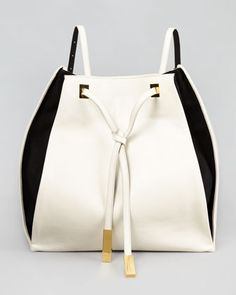Bicolor Faux-Leather Rucksack, Black/White by Stella McCartney at Neiman Marcus.