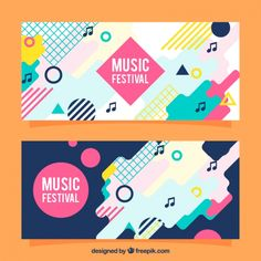 Colorful abstract banners in flat design premium vector. Print Layout, Layout Design, Web Design, Flat Design, Typography Poster, Typography Design, Web Banner, Banners, Estilo Kitsch