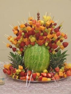 Fruit kabobs for a shower.