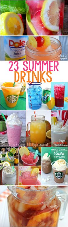 23 Refreshing Drink Recipes for Summer - These Summer drink recipes are perfect for a hot day...they are sweet and easy to make! #summer #drinks