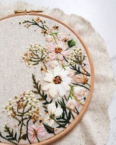 The colour palette for this wedding hoop commission was absolutely gorgeous! Antique gold, fern green, blush – The colour palette for this wedding hoop commission was absolutely gorgeous! Hand Embroidery Stitches, Crewel Embroidery, Hand Embroidery Designs, Cross Stitch Embroidery, Hand Stitching, Embroidery Techniques, Embroidery Ideas, Machine Embroidery, Geometric Embroidery