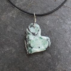 Chrysoprase Manganese, Magnesite pendant necklace -  organic  unique pale green, black, white heart necklace by NaturesArtMelbourne on Etsy