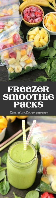 Prep these smoothie packs for the freezer and when youre ready to eat, just add milk or water! Check out the tutorial and delicious green smoothie recipe!Prep these smoothie packs for the freezer and when youre ready to eat, just add milk or water Healthy Drinks, Healthy Snacks, Healthy Eating, Healthy Recipes, Whole30 Recipes, Vegetarian Recipes, Smoothies Healthy Weightloss, Dinner Healthy, Healthy Smoothies For Kids