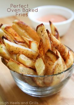 This is the best technique I've found to make crispy baked fries. #recipe #side #appetizer http://www.highheelsandgrills.com/2013/07/perfect-oven-baked-fries.html