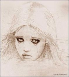 beautiful face and sad eyes. by Victoria frances.