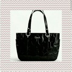 """Coach Embossed Gallery Tote Black patent leather embossed top zip tote. Is like new. No major staining or any interior wear. Interior quite clean. No exterior notable flaws. Comes with hang tag and dust bag. Purchased at Macy's. Is 13"""" wide, 9"""" tall and 5"""" deep with 9"""" strap drop. Great exterior side slip pockets and huge rear slip pocket. Interior features two slip and one zip pocket. Only carried one week. EXCLUDED FROM BUNDLE DISCOUNT. I TAKE 10% OFF BUNDLES THAT INCLUDE DESIGNER BAGS…"""
