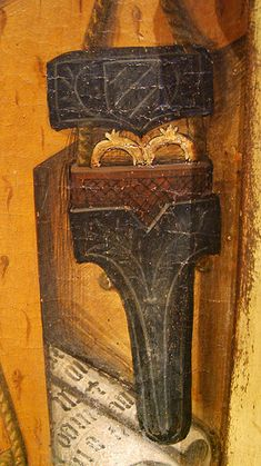 scissors holster. JAUME FERRER Pannello dipinto (dett.) di San Girolamo, Sant Martino e San Sebastiano, 1450 ca Museo Nazionale di Arte della Catalogna - MNAC, Barcellona (Spagna) inv. 114742