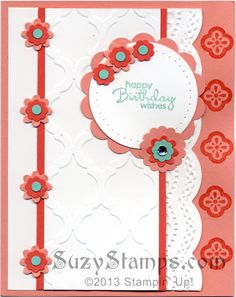 Stampin' Up! Cards - Mosaic Madness, Petite Pairs, Happy Birthday Wishes, Modern Mosaic Embossing Folder