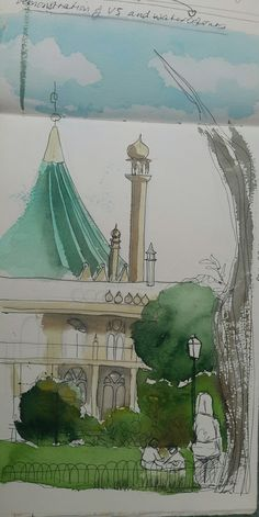 Drawing the pavilion.