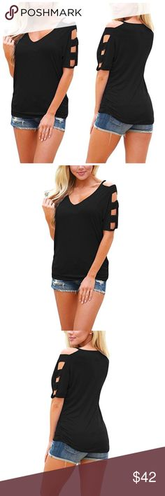 V-Neck Cutout Shoulder Top Estimated arrival 07/18. One of each size. Pre order now. Tops Tees - Short Sleeve