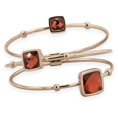 Three Row Rose Gold Plated Stainless Steel Bangle with Red Faceted Glass