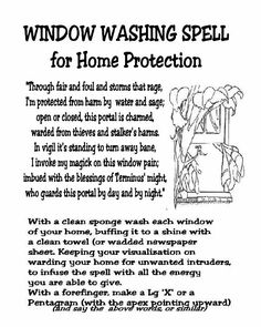 Window washing spell for protection of home. Good to do around Ostara/spring.