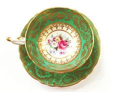 Antique Paragon Tea Cup, Pedestal Base, Emerald Green, Gold, Roses, Daisies, Double Stamped, 1950s