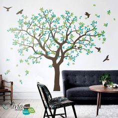 Large Tree wall decal White Tree Wall Decal Wall Mural Stickers Wall Decals Decor Nursery Tree and Birds Wall Art Tattoo Nature - Tree Wall Painting, Tree Wall Murals, Tree Wall Decor, Tree Wall Art, Mural Painting, Family Tree Mural, Family Wall, Bird Wall Art, Vinyl Wall Decals