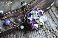 Spring delight- polymer clay pendant, polimer clay flowers by Zubiju